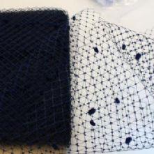 Navy Vintage Merry Widow Spot Hat Veiling